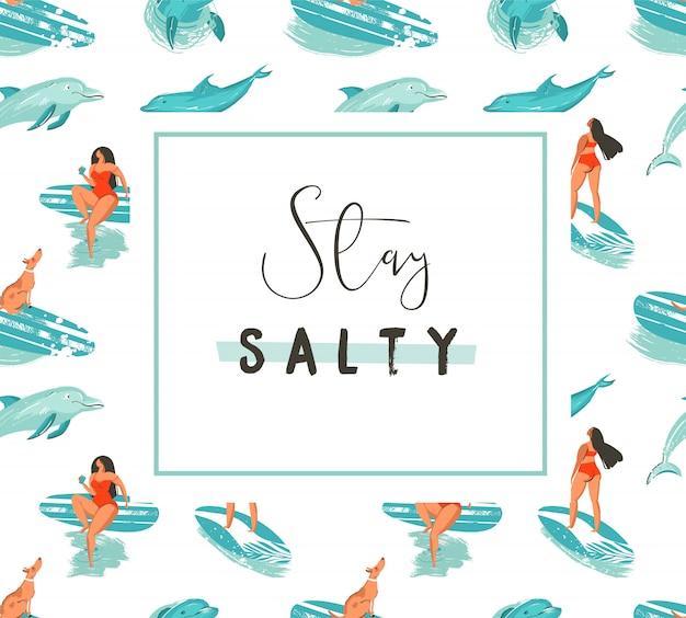 Hand getekende cartoon zomertijd leuke poster sjabloon met surfer meisjes en modert typografie offerte blijven zout op witte achtergrond Premium Vector