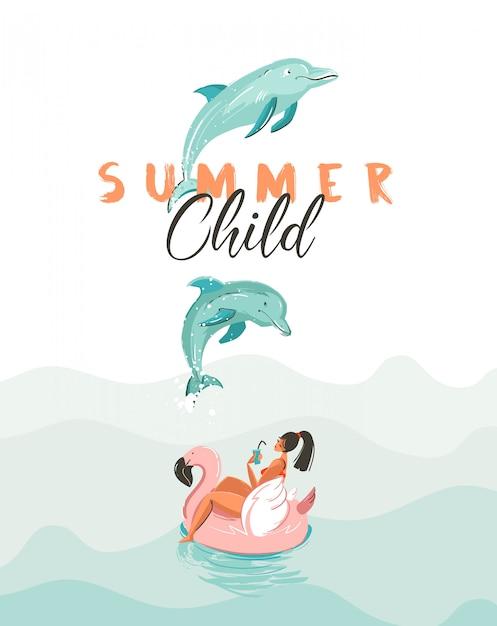 Hand getekende creatieve cartoon zomertijd poster met springende dolfijnen, meisje op roze flamingo float cirkel en moderne typografie citaat zomer kind op witte achtergrond. Premium Vector