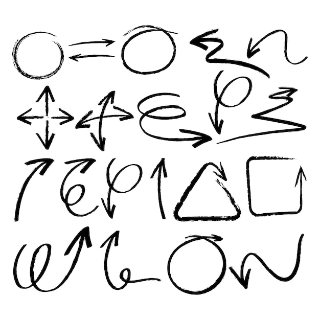 Hand getekende elementen collectie Gratis Vector