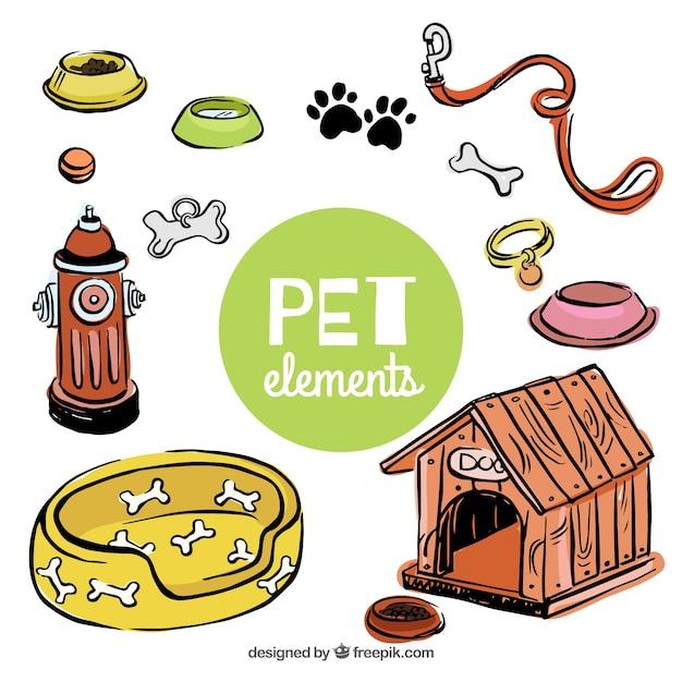 Hand getekende elementen voor uw huisdier Gratis Vector
