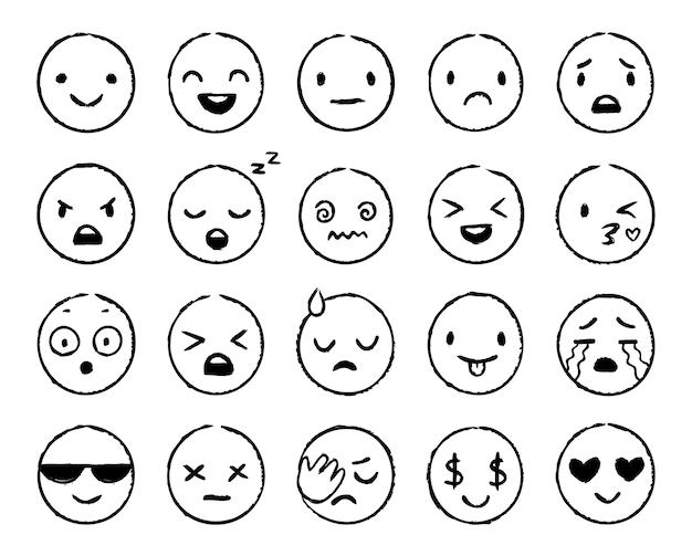 Hand getekende emoji. doodle emoticons, smile face sketch en grunge inkt brush emoji doodles Gratis Vector