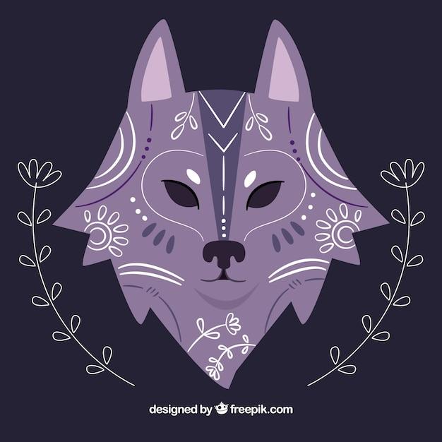 582e8f11c6ea9b Hand getekende etnische wolf achtergrond met bloemen details Gratis Vector