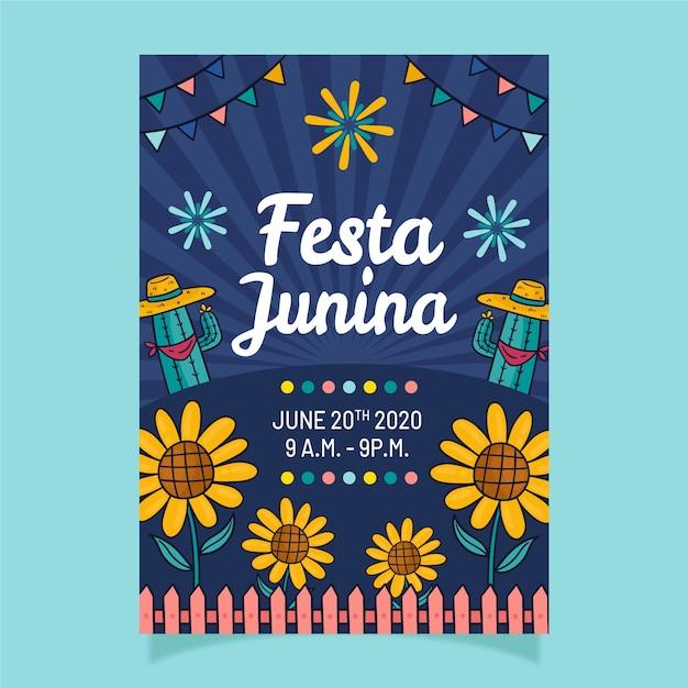 Hand getekende festa junina-flyer Gratis Vector