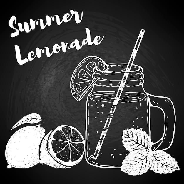 Hand getekende fles met limonade, citroenen en muntblaadjes. elementen voor poster, menu, flyer. illustratie. Premium Vector