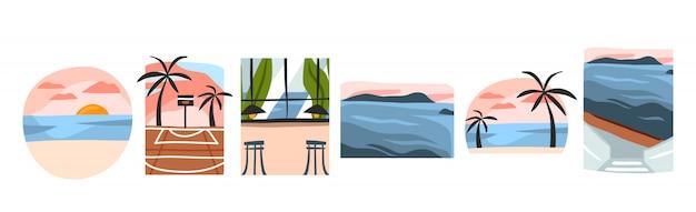 Hand getekende illustratie collectie set bundel met zomertijd scène uitzicht op strand, zonsondergang, restaurant café en basketbal stad rechtbank op witte achtergrond Premium Vector