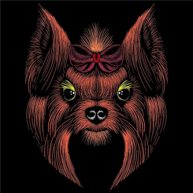 Hand getekende illustratie in krijt stijl van hond Premium Vector