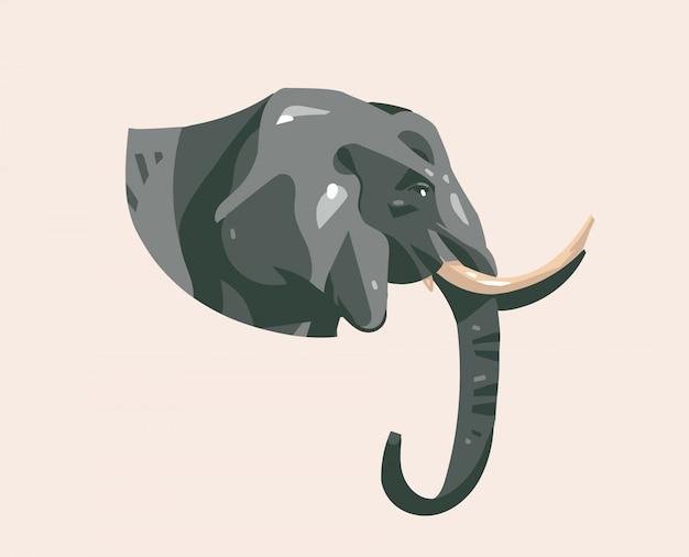 Hand getekende illustratie met wilde olifant hoofd cartoon dier op achtergrond Premium Vector