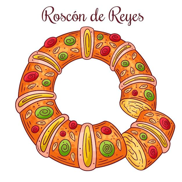 Hand getekende illustratie roscón de reyes Gratis Vector