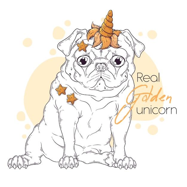 Hand getekende illustratie van de mopshond met een eenhoornhoorn. Premium Vector
