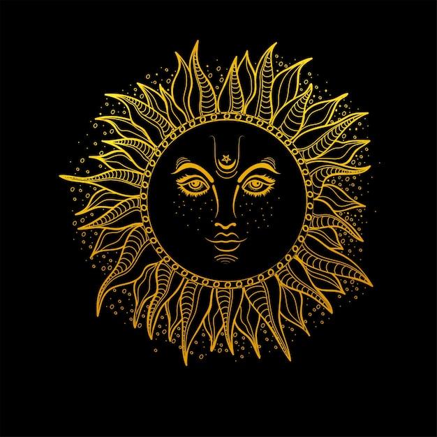 Hand getekende illustratie van golden sun. vector boho stijl element. Gratis Vector