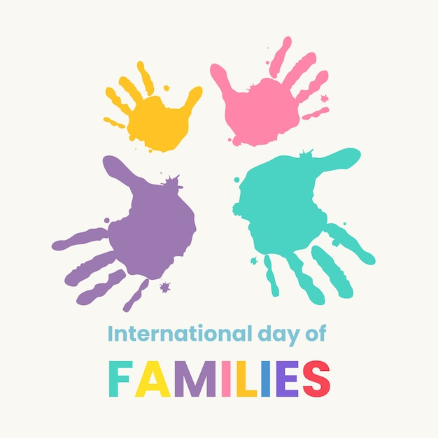 Hand getekende illustratie voor internationale dag van gezinnen met geschilderde handen Gratis Vector