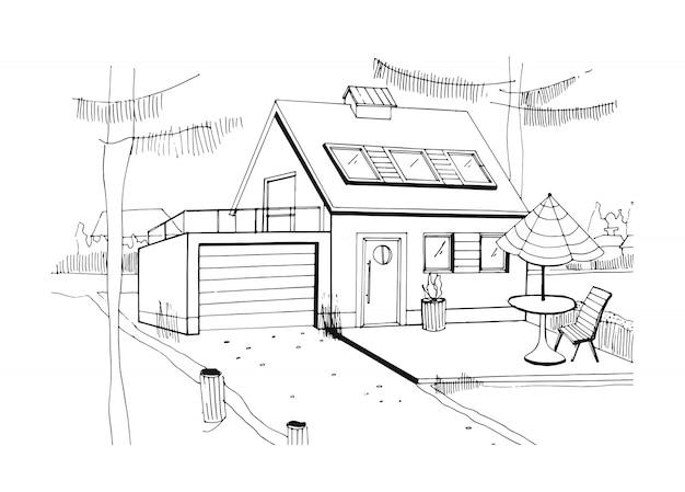 Hand getekende landhuis. moderne privé woonhuis met garage. zwart-wit schets illustratie. Premium Vector