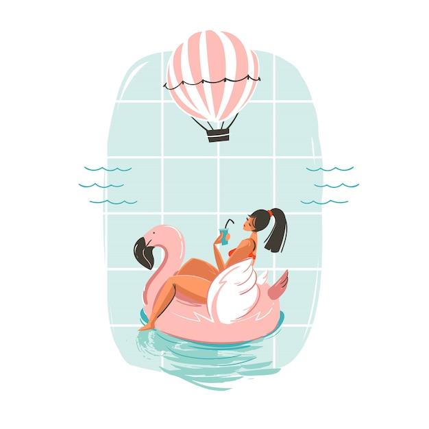 Hand getekende leuke zomertijd illustratie kaart met meisje zwemmen op roze flamingo float cirkel in blauwe oceaan golven Premium Vector
