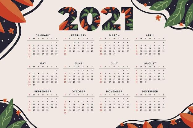 Hand getekende nieuwe jaarkalender Gratis Vector