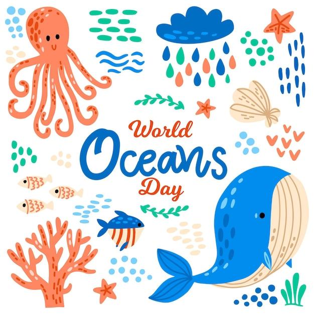 Hand getekende oceanen dag concept Gratis Vector