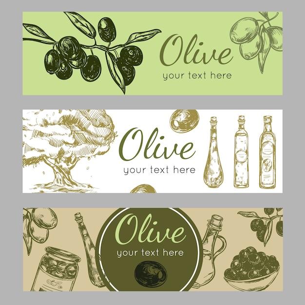 Hand getekende olijfolie banner set Gratis Vector