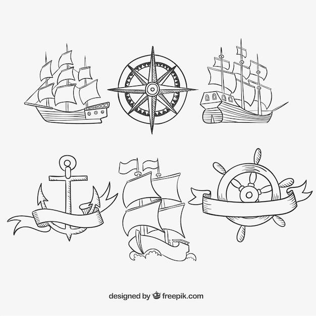 Hand getekende oude schepen Gratis Vector