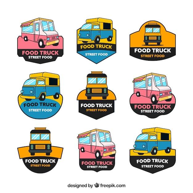 Hand getekende set van vrachtwagen logo's Gratis Vector