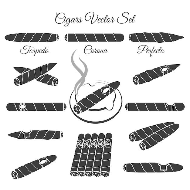 Hand getekende sigaren vector. torpedo corona en perfecto, cultuur levensstijl illustratie. vector sigaar pictogrammen Gratis Vector