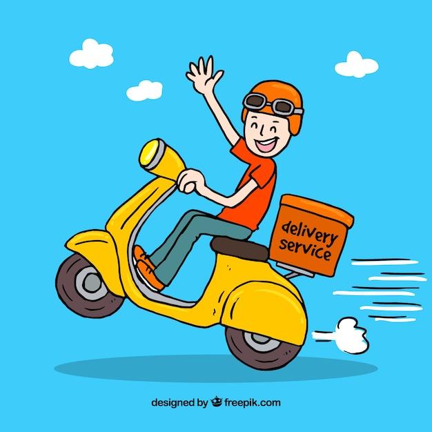 Hand getekende smiley deliveryman Gratis Vector