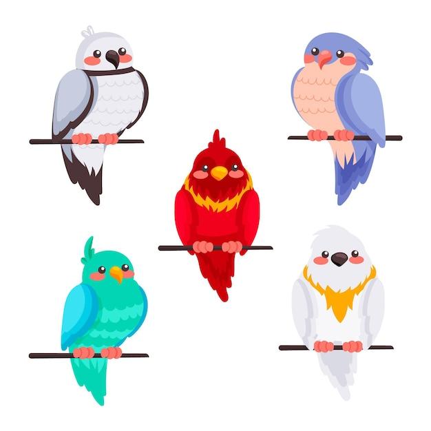 Hand getekende stijl vogel collectie Gratis Vector