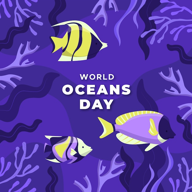 Hand getekende stijl wereld oceanen dag Gratis Vector