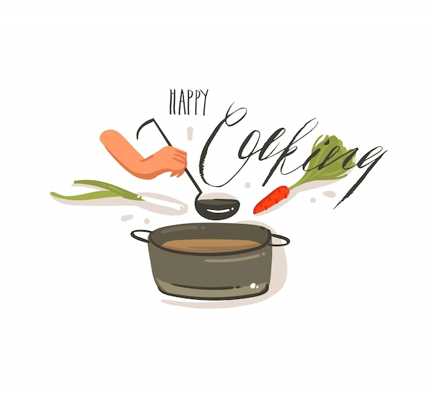 Hand getekende vector abstracte cartoon koken illustraties label met grote pan crème soep, groenten en vrouw handen met lepel geïsoleerd op een witte achtergrond. Premium Vector