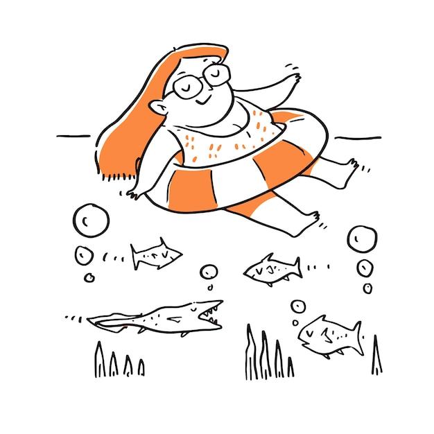 Hand getekende vrouw ontspannen in het zwembad met rubberen ring. Premium Vector
