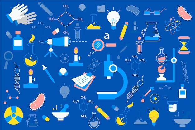 Hand getekende wetenschap achtergrond Gratis Vector