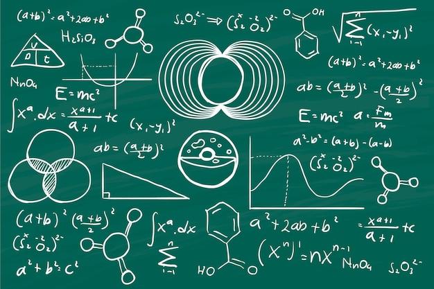 Hand getekende wetenschappelijke formules op schoolbord Gratis Vector