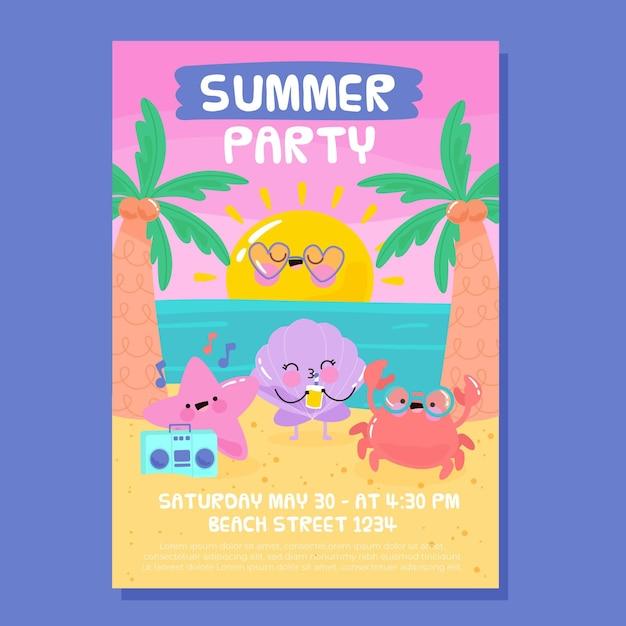 Hand getekende zomerfeest poster Gratis Vector