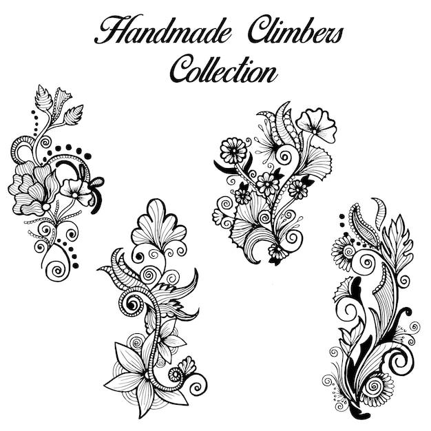 Hand getekende zwart-wit henna designs klimmers collectie Gratis Vector