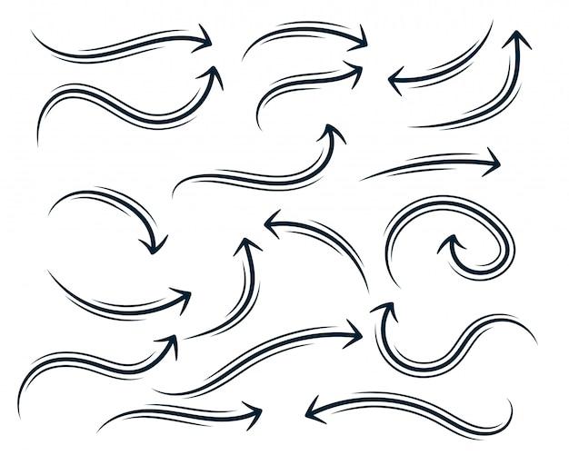 Hand getrokken abstracte bochtige pijl ingesteld Gratis Vector