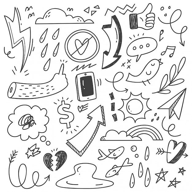 Hand getrokken abstracte krabbel doodle Premium Vector