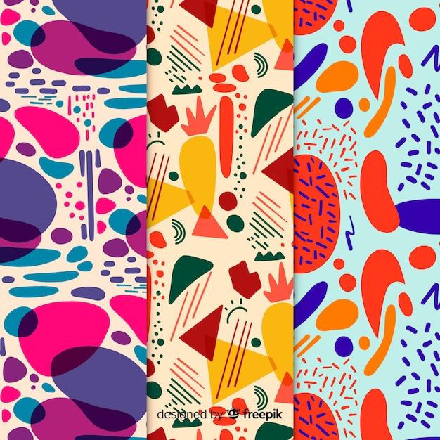 Hand getrokken abstracte patroonreeks Gratis Vector