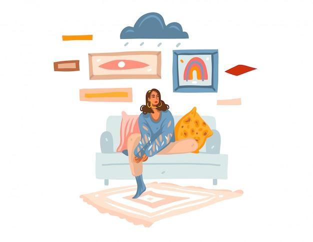 Hand getrokken abstracte voorraad grafische illustratie met jong melancholisch wijfje die thuis op bank zitten en op witte achtergrond dromen Premium Vector