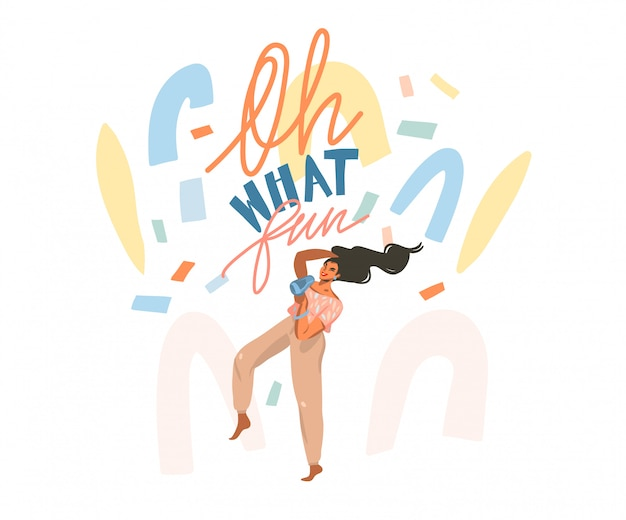Hand getrokken abstracte voorraad grafische illustratie met jonge gelukkig vrouwtje droogt haar, met een haardroger en danst thuis en abstracte confetti, oh wat leuk belettering op witte achtergrond. Premium Vector
