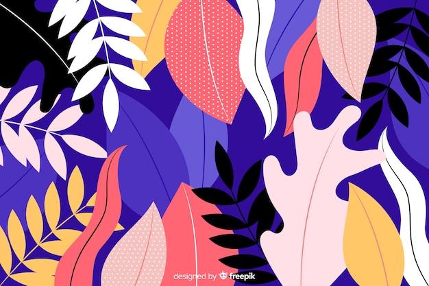 Hand getrokken achtergrond met kleurrijke bloemen Gratis Vector