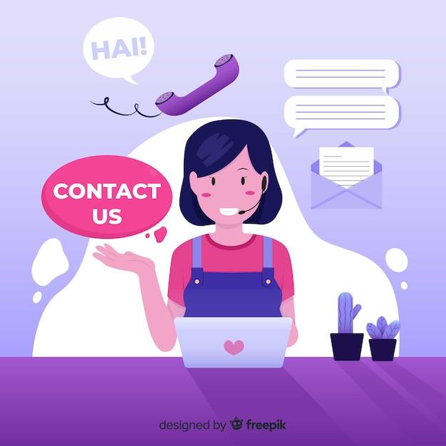 Hand getrokken achtergrond sjabloon voor contactinformatie Gratis Vector