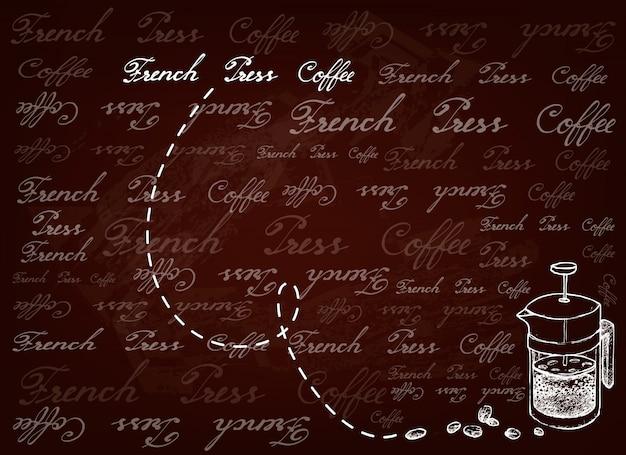 Hand getrokken achtergrond van franse pers met koffiebonen Premium Vector