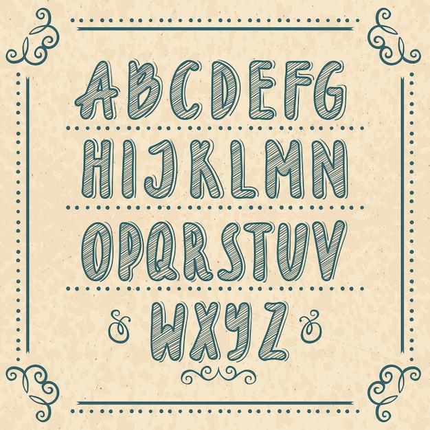 Hand getrokken alfabet met doodle letters. vector illustraties instellen Premium Vector