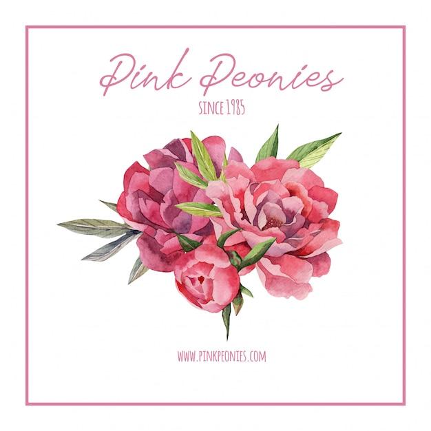 Hand getrokken aquarel logo sjabloon met pioenrozen bloemen Premium Vector