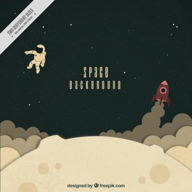 Hand getrokken astronaut met een raket op de maan achtergrond Gratis Vector
