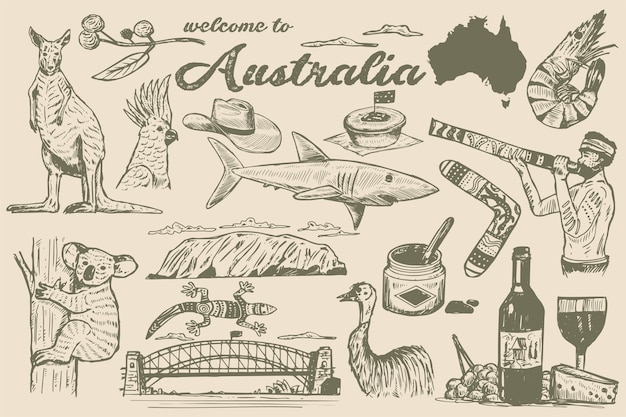 Hand getrokken australië doodle, schets stijl. Premium Vector