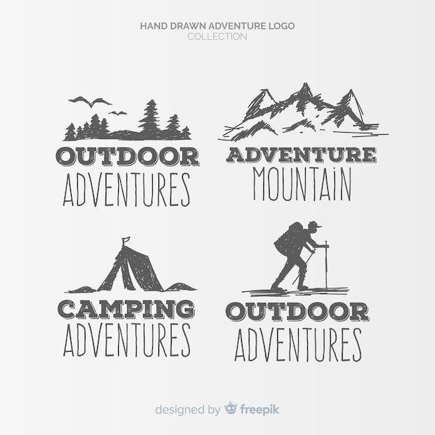 Hand getrokken avontuur logo-collectie Premium Vector