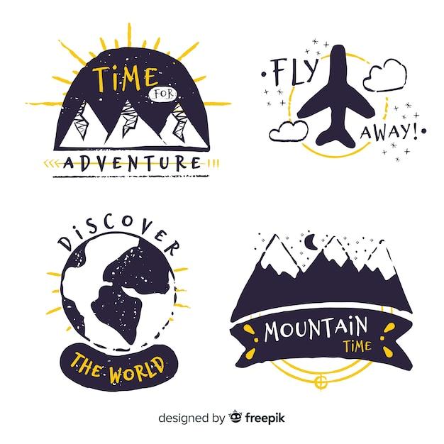 Hand getrokken avontuur logo-collectie Gratis Vector