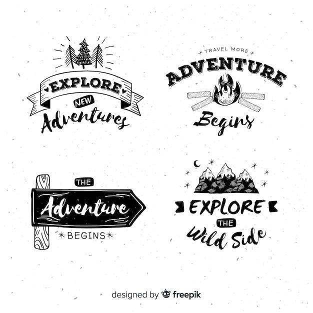 Hand getrokken avontuur logo's collectie Gratis Vector