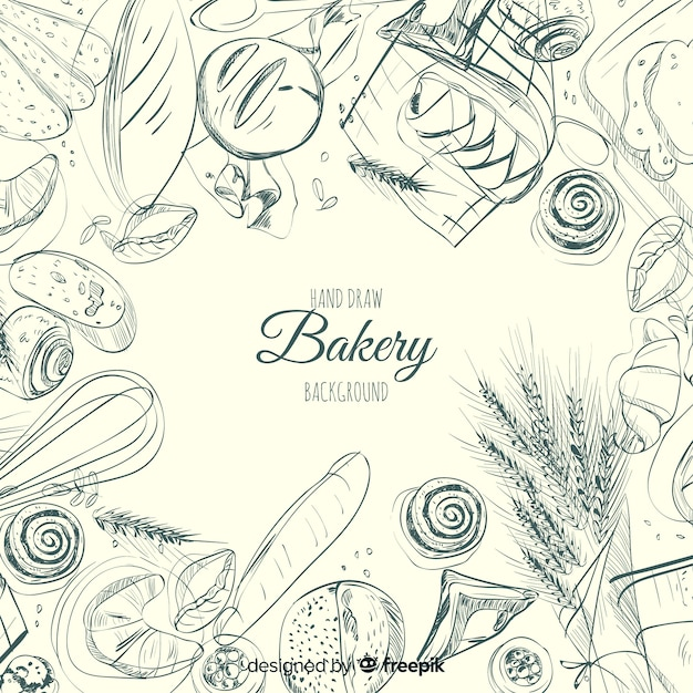 Hand getrokken bakkerij achtergrond Gratis Vector