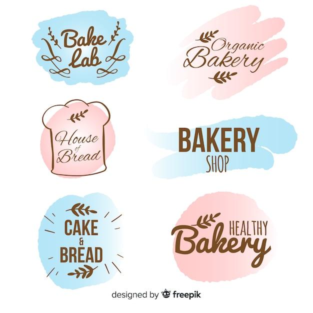 Hand getrokken bakkerij badge collectie Gratis Vector