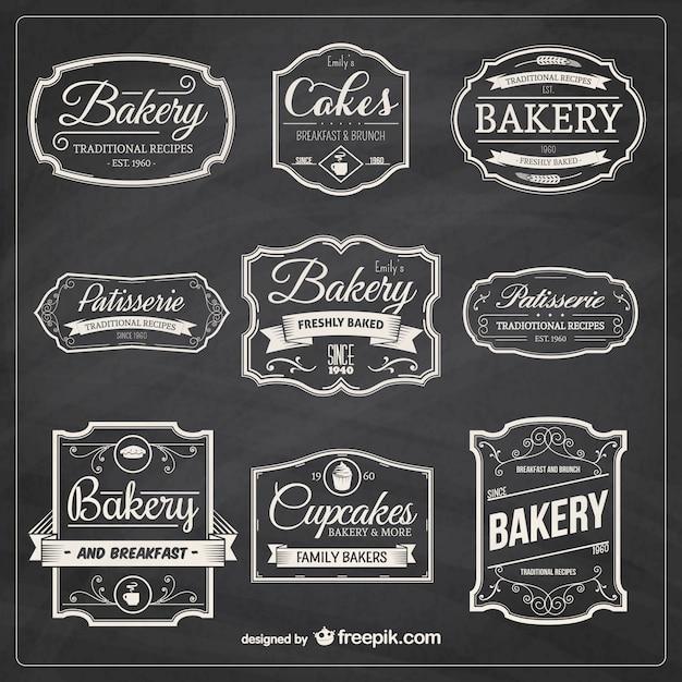 Hand getrokken bakkerij badges Gratis Vector